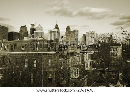 Sunset over downtown Center City, Philadelphia, PA in vintage sepia.