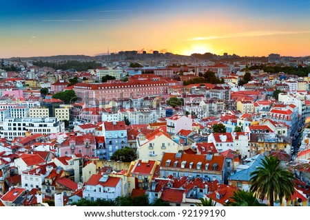 Sunset over downtown Lisbon (Portugal), as seen from Alfama