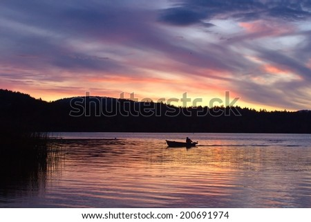 Sunset over Elk lake,Victoria,BC, Canada #200691974
