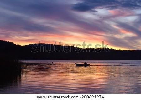 Sunset over Elk lake,Victoria,BC, Canada #200691974