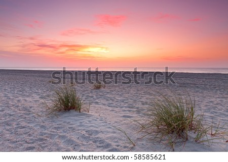 Sunset over Florida coastline. Fernandina beach, Florida, USA