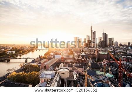 Sunset over Frankfurt skyline #520156552