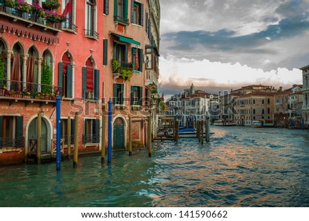 Sunset over Grand Canal in Venice
