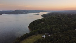 Sunset over Greers Ferry Lake Arkansas USA from a drone