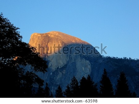 Sunset over Half Dome in Yosemite National Park