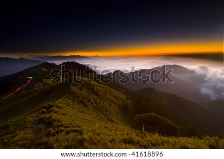 Sunset over Hehuan Range, Taroko National Park, Taiwan