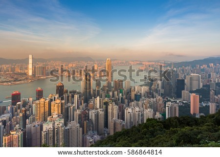 Sunset over Hong Kong city central business downtown aerial view