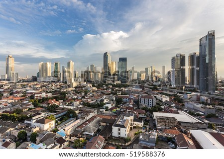 Sunset over Jakarta skyline business district in Indonesia capital city.