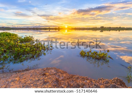 Sunset over lake at countryside #517140646