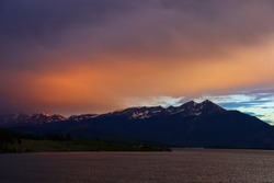 Sunset over Lake Dillon, near Dillon, Colorado. Outside of Keystone Ski Resort off US-6. Also near Silverthorne and Frisco, Colorado.