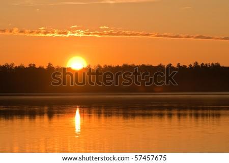 Sunset over Lake - Illinois