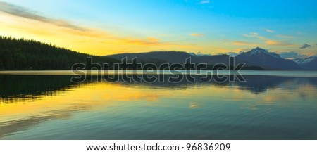 Sunset over Lake Mcdonald in Glacier National Park