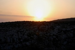 Sunset over Lampedusa, Italy. Summer 2009.