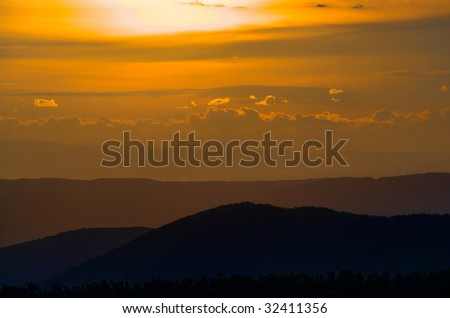 Sunset over layers of Blue Ridge Mountains as seen from Shenandoah National Park