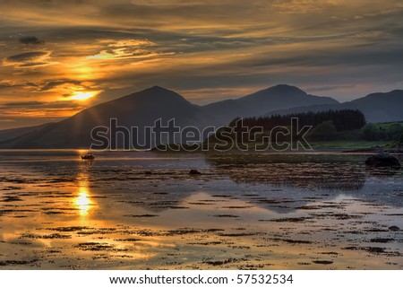 Sunset over Loch Linnhe in Scotland