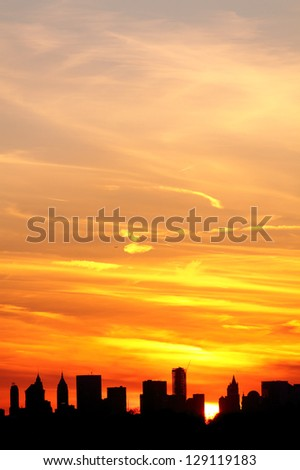 Sunset over Lower Manhattan, New York City - stock photo