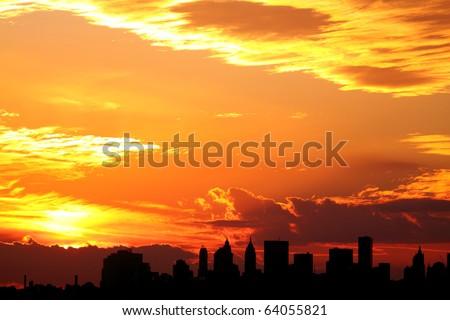 Sunset over Lower Manhattan, New York City