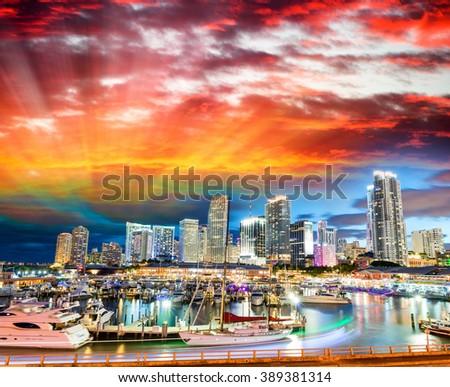Sunset over Miami, Florida. Wonderful cityscape at dusk.