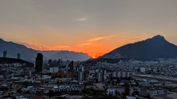 Sunset over Monterrey, Mexico looking towards the Sierra Madre Mountains from the Obispado.
