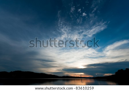 sunset over mountain and lake