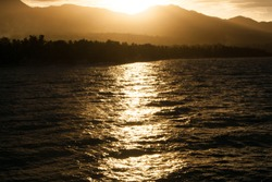 Sunset over mountains in Negros Oriental, Philippines