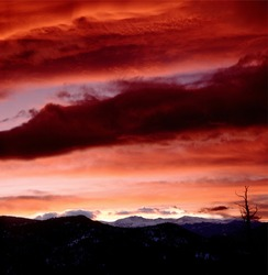 Sunset over Mt Evans, Colorado. Firey Sky Over The Rockies.