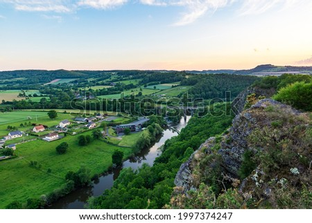 Sunset over Norman Switzerland from the Rochers des Parcs in Clécy (Normandy, France) Photo stock ©