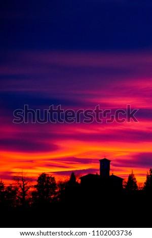 Sunset over old Italian village