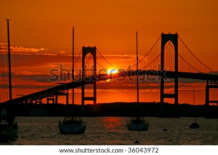 Sunset over Pell Bridge, Newport, RI Horizontal