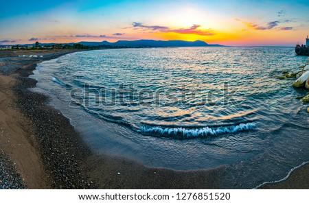 Sunset over Poli beach on Cyprus #1276851520