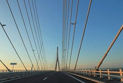 Sunset over Pont de Normandie, the famous bridge over the river Seine in Normandy