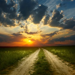 Sunset over rural road