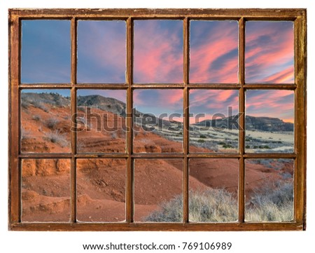 sunset over sandstone canyon at ...