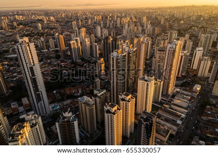 Sunset over Sao Paulo city, Brazil #655330057