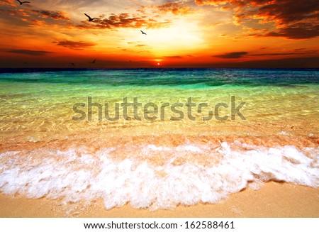 Sunset over sea #162588461