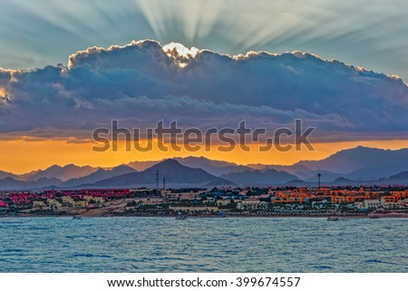 Sunset over Sinai mountains in Sharm el Sheikh, Egypt. #399674557