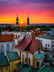 Sunset over St. Andrew's Church in Old Town, Cracow, Poland