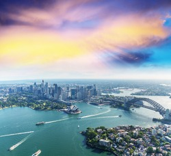 Sunset over Sydney Harbour, helicopter view.