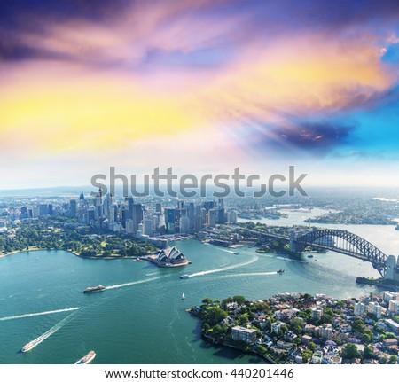 sunset over sydney harbour ...