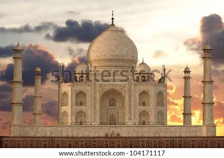 Sunset over Taj Mahal mausoleum, Agra, Uttar Pradesh,  India