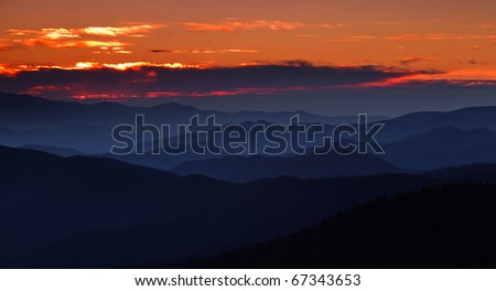 Sunset over the appalachian mountains, cascading peaks with firey sky and clouds in the Smokies
