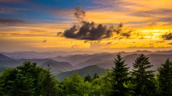 Sunset over the Appalachian Mountains from Caney Fork Overlook on the Blue Ridge Parkway in North Carolina.