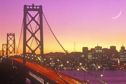 Sunset over the Bay Bridge to San Francisco from Treasure Island, California