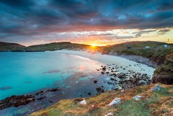 Sunset over the beach at Hushinish on the Isle of Harris in the Outer Hebrides of Scotland