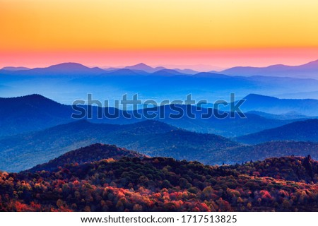 Sunset over the blue ridge Appalachian mountains in North Carolina. Stock photo ©