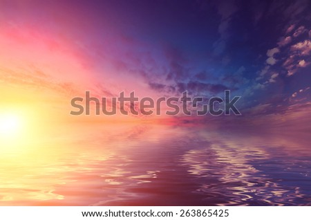 Sunset over the calm Black sea. Romantic mood transmitted color palette pictures