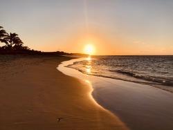 Sunset over the Caribbean sea island of Anguilla