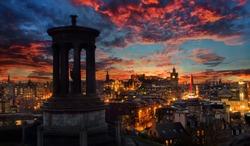 Sunset over the City of Edinburgh
