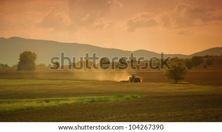 sunset over the cultivated farmland