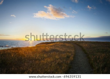 Sunset over the Gulf of St. Lawerence, Green Point, Gros Morne National Park, Newfoundland & Labrador #696359131